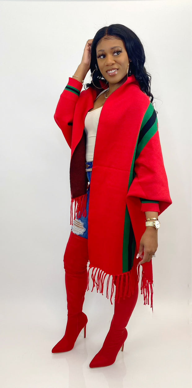Issa Boss Poncho (Red)