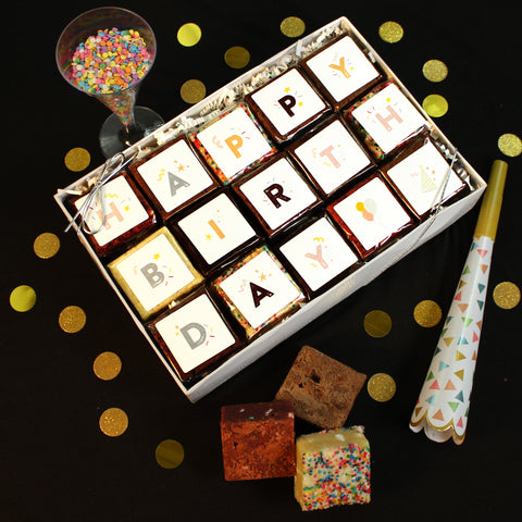 Birthday Brownie Gift Box BrownieGram Brownies and boozy brownies online | Small Batch Brownies