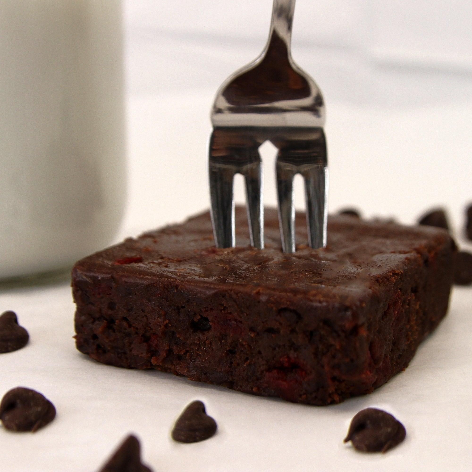 Fudgy Chocolate Chip Brownies-Small Batch Brownies