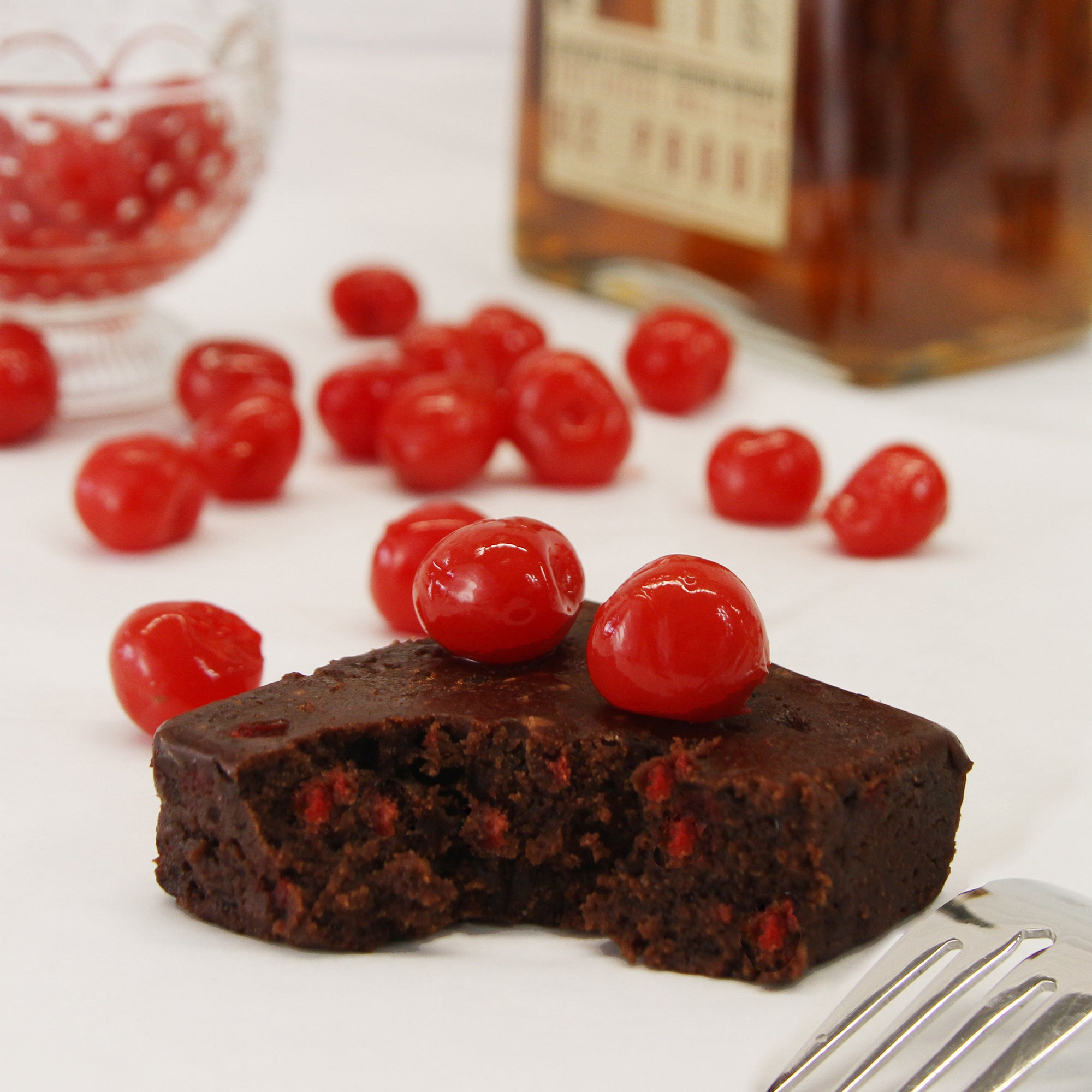 Bourbon Cherry Boozy Brownies-Small Batch Brownies