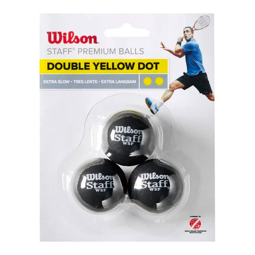 Wilson 3 Ball DBL Yellow Dot squash ball