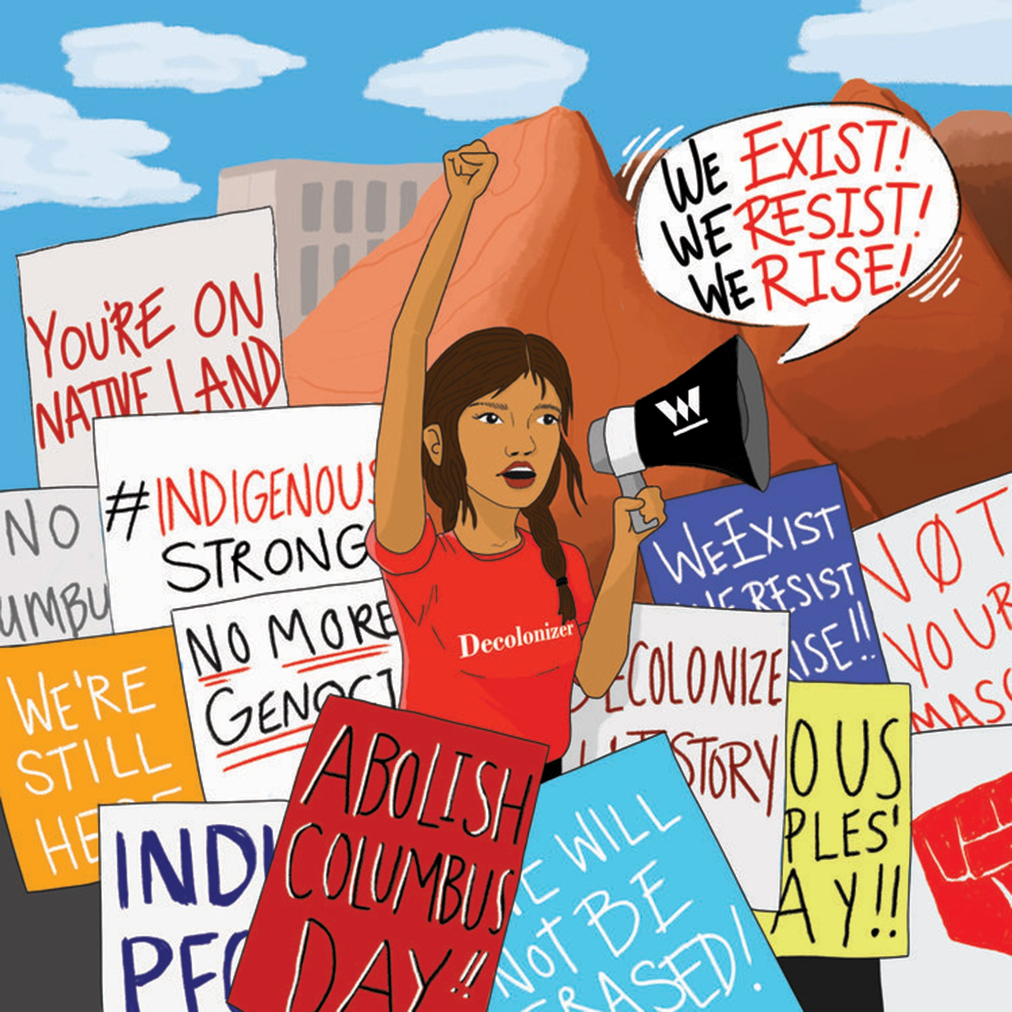 Digital-illustration-of-an-Indigenous-woman-with-braid-and-red-shirt-with-Decolonizer-on-front-raising-fist-with-megaphone-around-protest-signs