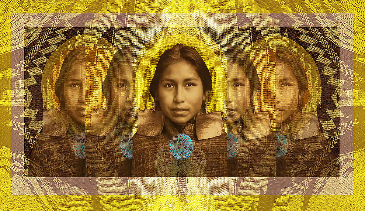 Rectangle-design-made-with-yellow-brown-and-tan-hues-with-Indigenous-person-face-at-center-that-ripples-out-toward-edges