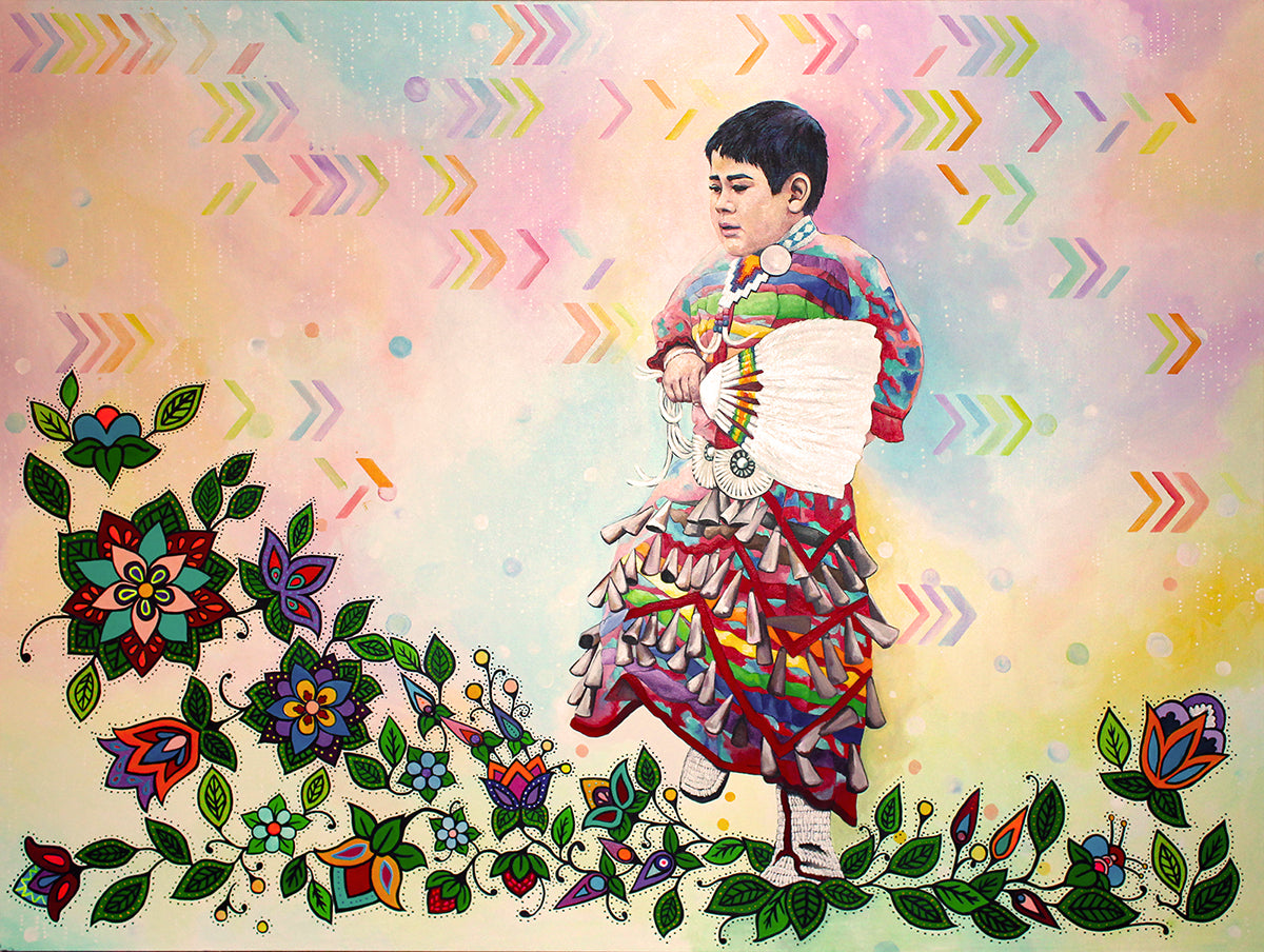 Indigenous-person-dances-in-rainbow-colored-regalia-with-rainbow-colored-background-designs-and-florals