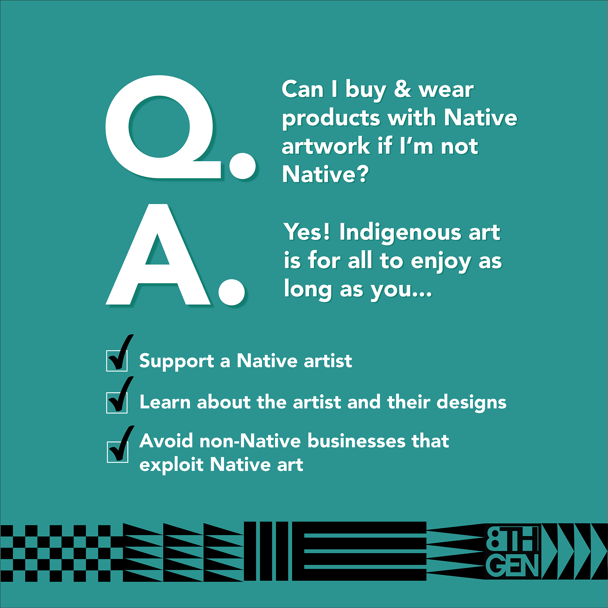 Can-I-buy-and-wear-products-with-Native-artwork-if-I'm-not-Native?-infographic-in-teal-with-white-and-black-lettering-and-Coast-Salish-pattern