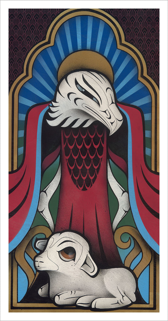Sister Eagle limited edition Giclee print by Nooksack Native artist Louie Gong