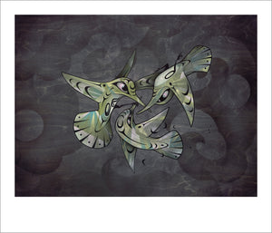 Internal Affairs Hummingbird limited edition Giclee print by Nooksack Native artist Louie Gong