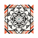 Orange, white and black silk scarf by Acoma Pueblo artist Michelle Lowden featuring pottery patterns
