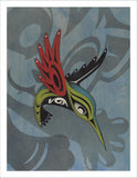 Hummingbird and Rez Cat limited edition Giclee print by Nooksack Native artist Louie Gong