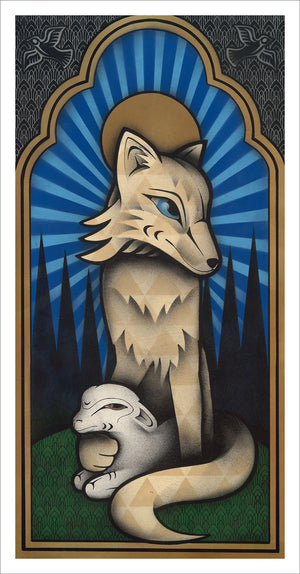 Father Coyote limited edition Giclee print by Nooksack Native artist Louie Gong