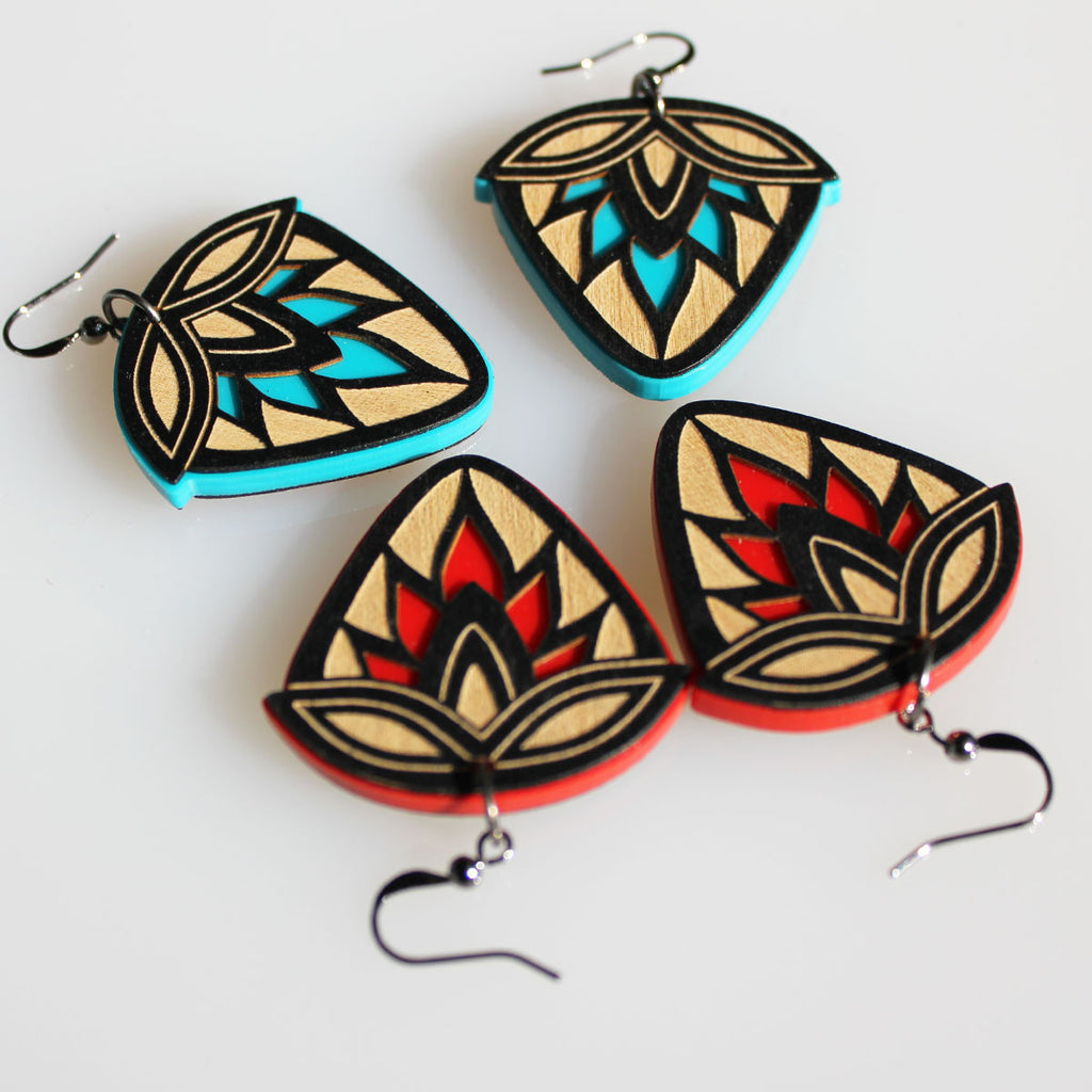 Anishinaabe designed Fierce Heart strawberry mixed media earrings by Eighth Generation and Native artist Sarah Agaton Howes