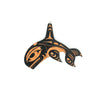 Nooksack designed wood Orca pendant by Eighth Generation and Native artist Louie Gong