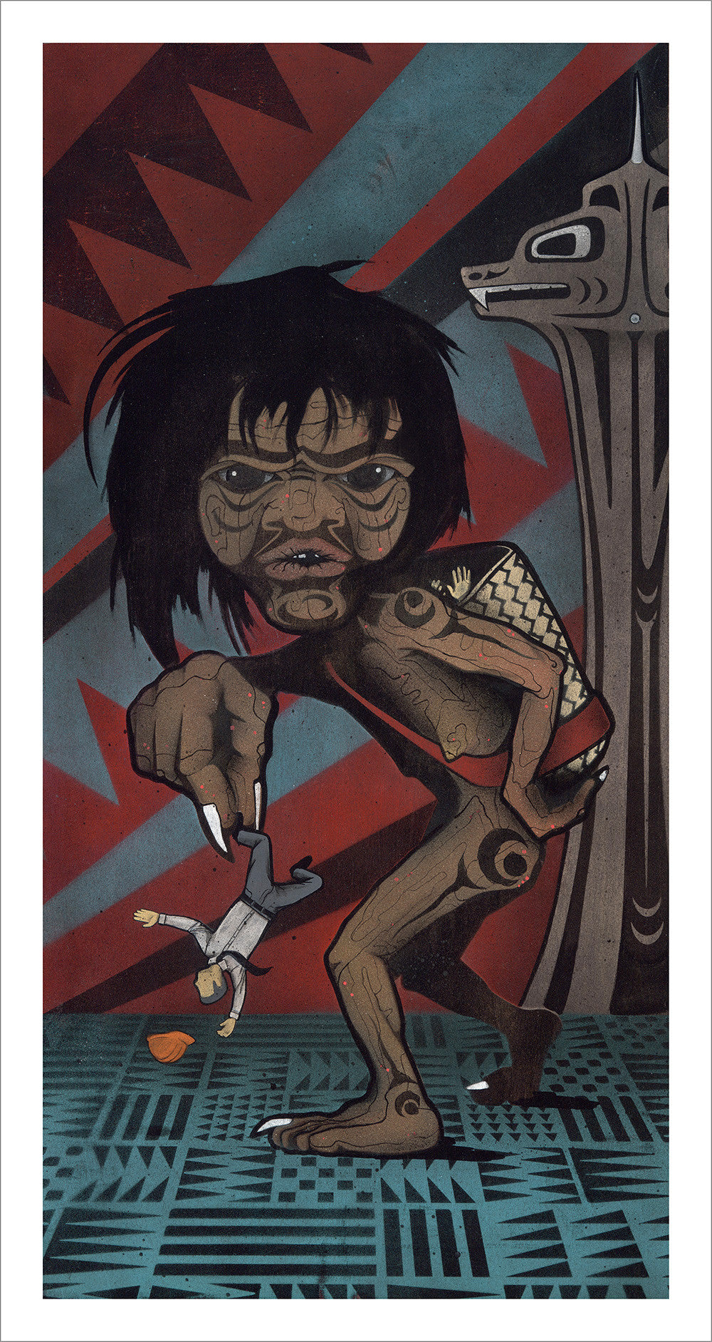 Slapoo limited edition Giclee print by Nooksack Native artist Louie Gong