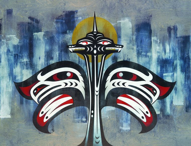 Seattle Space Needle limited edition Giclee print by Nooksack Native artist Louie Gong