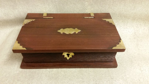 Brass and Wood (Book Style) Lockable Chest
