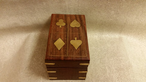 Brass Trimmed Wooden Card Box includes 2 packs of cards