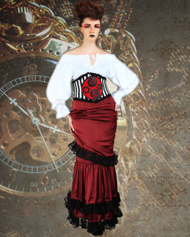 Victorian Skirt in Ruby Red