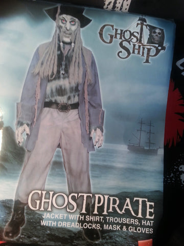 Ghost Ship Pirate With Latex Mask And Hat with Grey curls