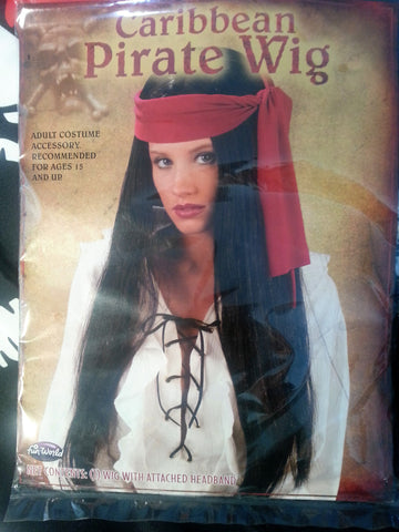 Long Black Pirate Wig With Red Bandana