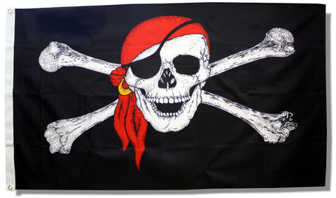 Jolly Roger With Red Bandana and Gold Earing