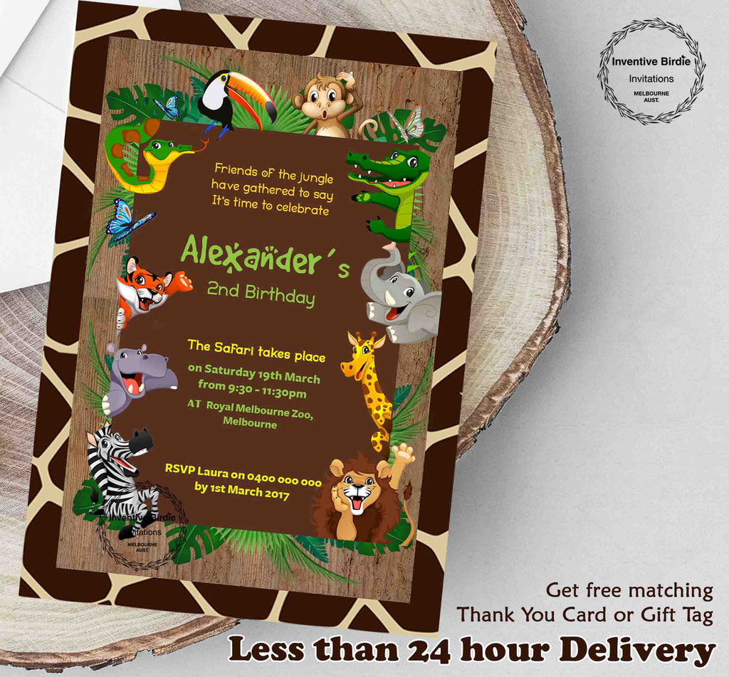 Jungle Theme Invite With FREE Thank You Tags Or Card