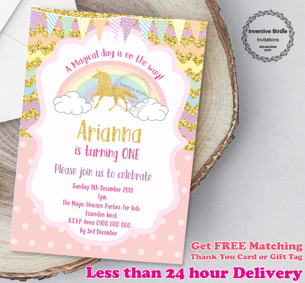 Unicorn Birthday Invitation With FREE Thank You Tags Or Card