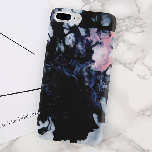 Black & Pink Marble iPhone Case