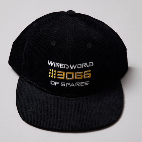 Spares store wired world of spares corduroy 6 panel cap Black