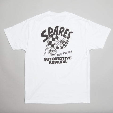 Spares store checkered flag t-shirt white
