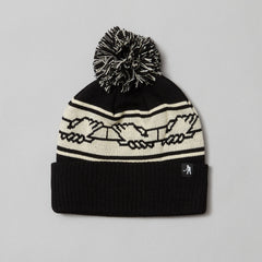 Passport International solidarity pom pom beanie black/white