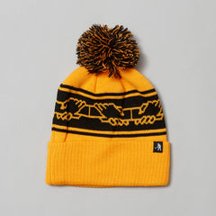 Passport International solidarity pom pom beanie Gold/black