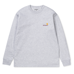 Carhartt American script L/S t-shirt Ash heather grey
