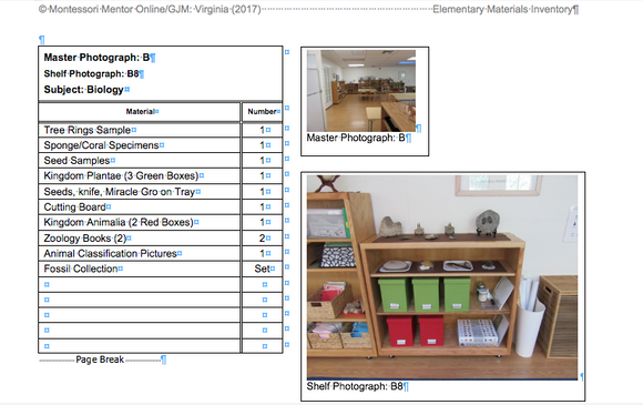 Elementary Classroom Inventory