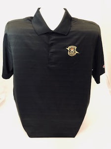 Mens Champion Black Ribbed Polo