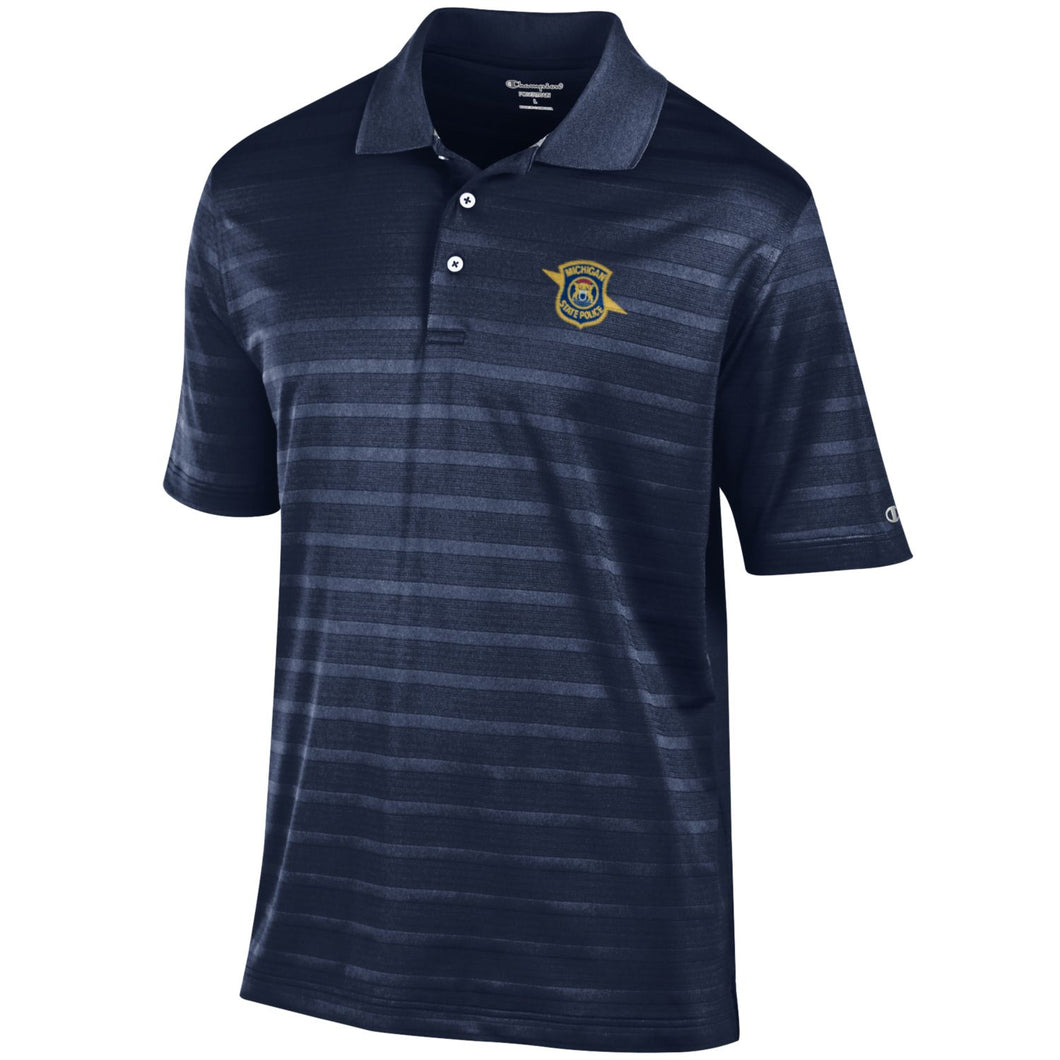 Mens Champion Navy Ribbed Polo