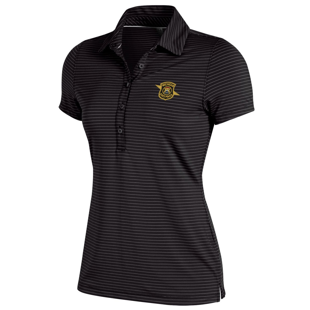 Womens UA Black/White Stripe Polo