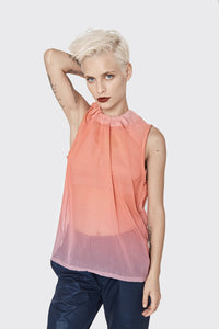 Summer shirt for women  - Pink chiffon blouse with tying - blush- pink- loose blouse - tranparent sleeveless top - summer sexy shirt