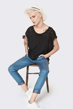 Load image into Gallery viewer, Black cotton blouse special knitting - Black gentle knitted loose T-shirt- sexy sleeveless top - summer sexy shirt