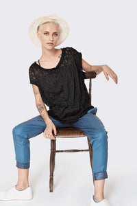 Black cotton blouse special knitting - Black gentle knitted loose T-shirt- sexy sleeveless top - summer sexy shirt