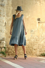 Load image into Gallery viewer, Last SALE 40% Blue oversize dress , pleats dress, light wool and silk blended stripes dress - extravagant blue dress