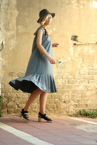 Last SALE 40% Blue oversize dress , pleats dress, light wool and silk blended stripes dress - extravagant blue dress