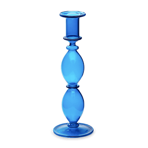 Blue glass Candlestick or Candle holder