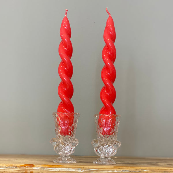 Set of 2 Spiral Candles 20 cm
