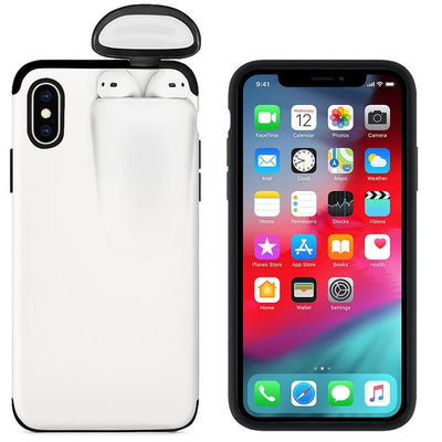 White 2 in 1 iPhone/Airpods Case
