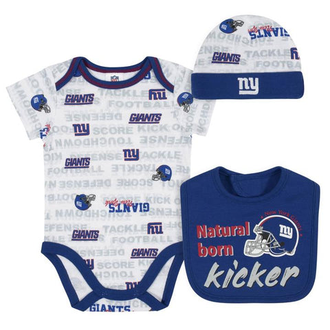 New York Giants Baby Boys 3-Piece Bodysuit, Cap, and Bib Set 0-3m
