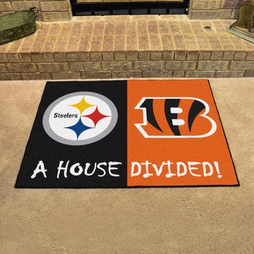 "Pittsburgh Steelers / Cincinnati Bengals House Divided Rug 33.75""x42.5"