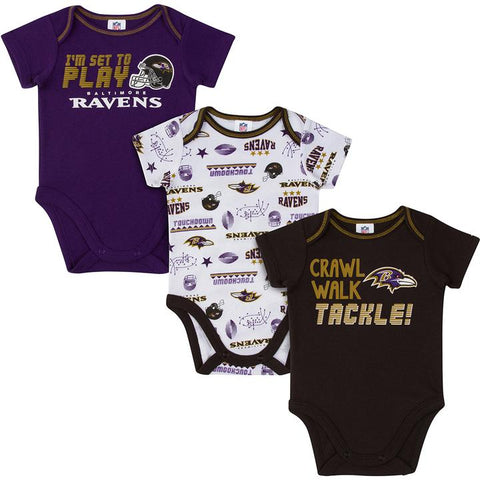 Baltimore Ravens Baby Boys Short Sleeve Bodysuit, 3-pack 3-6m