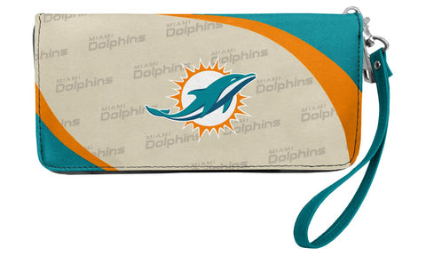 Dolphins - Little Earth Womens Curve Zip Organizer Wallet