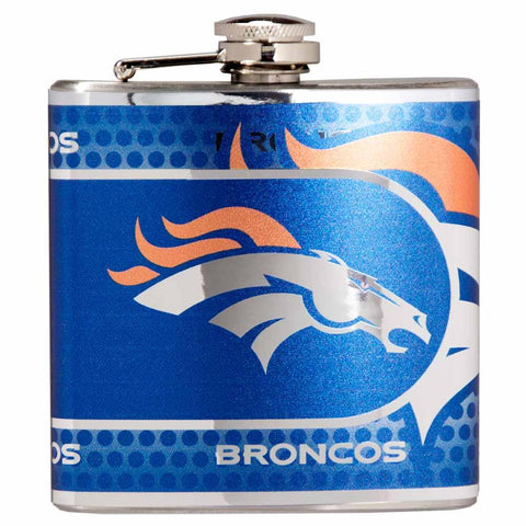 Broncos - Stainless Steel Hip Flask with Metallic Graphics