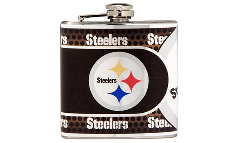 Steelers - Stainless Steel Hip Flask with Metallic Graphics